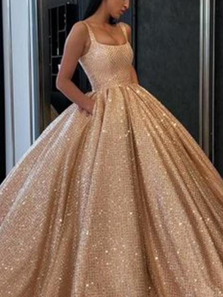 Ball Gown Other Ruffles Square Sleeveless Floor-Length Dresses