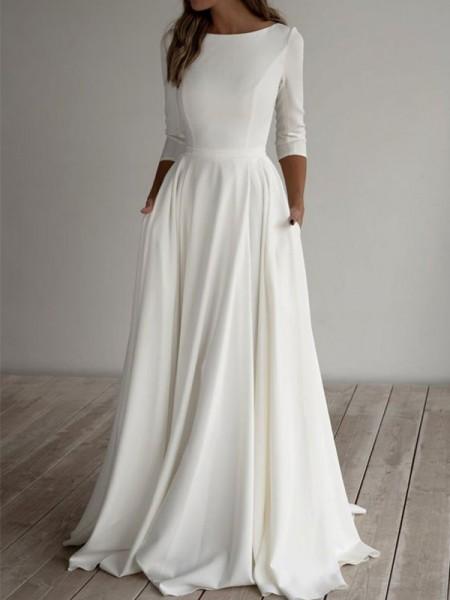A-Line/Princess Stretch Crepe Ruffles Scoop 3/4 Sleeves Floor-Length Wedding Dresses