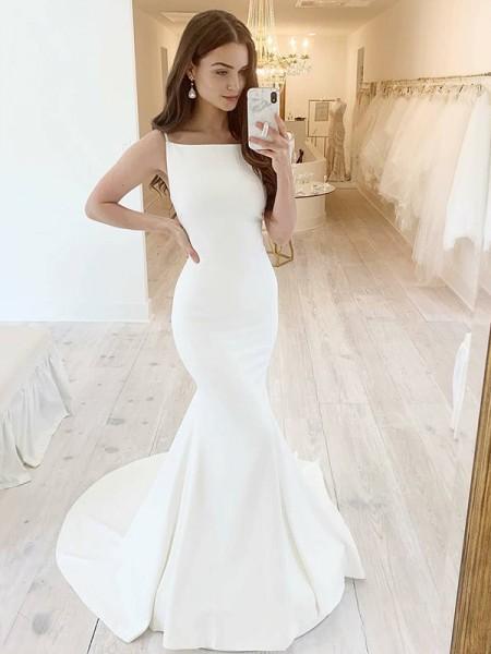 Trumpet/Mermaid Stretch Crepe Square Sleeveless Ruffles Sweep/Brush Train Wedding Dresses