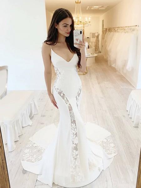 Trumpet/Mermaid Satin Lace V-neck Sleeveless Sweep/Brush Train Wedding Dresses