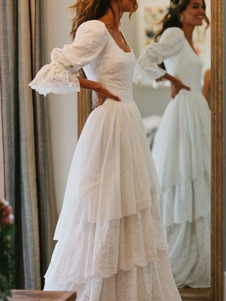 A-Line/Princess Lace Long Sleeves Layers Square Sweep/Brush Train Wedding Dresses