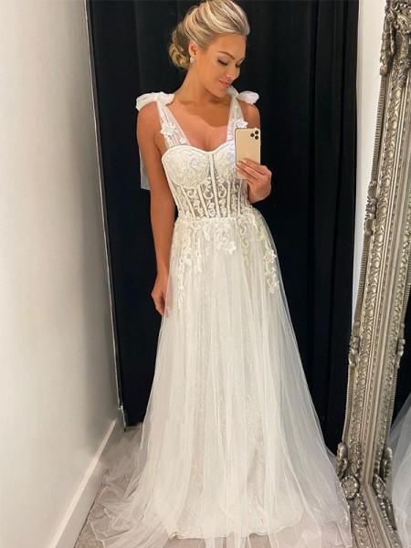 A-Line/Princess Tulle Applique Sleeveless Straps Sweep/Brush Train Wedding Dresses
