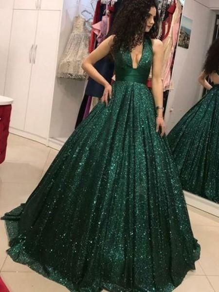 Ball Gown Sequins Ruffles Halter Sleeveless Floor-Length Dresses