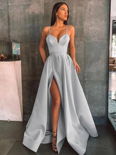 A-Line/Princess Satin Ruffles Sleeveless Spaghetti Straps Floor-Length Dresses