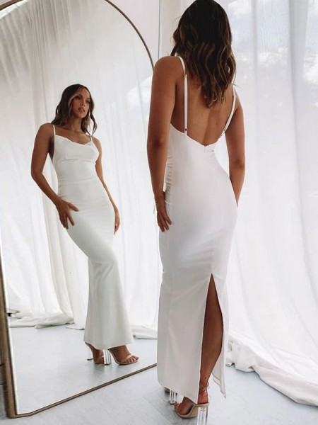 Sheath/Column Spaghetti Straps Stretch Crepe Ruched Sleeveless Floor-Length Dresses