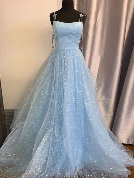 A-Line/Princess Tulle Paillette Sleeveless Spaghetti Straps Floor-Length Dresses