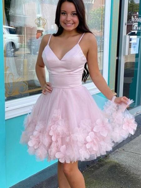 A-Line/Princess Tulle Hand-Made Flower V-neck Sleeveless Short/Mini Homecoming Dresses