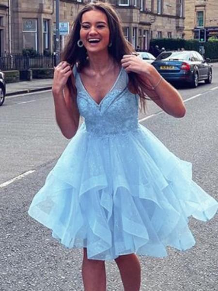 A-Line/Princess Tulle Ruffles V-neck Sleeveless Short/Mini Homecoming Dresses