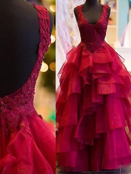 Ball Gown Applique V-Neck Floor-Length Tulle Dress