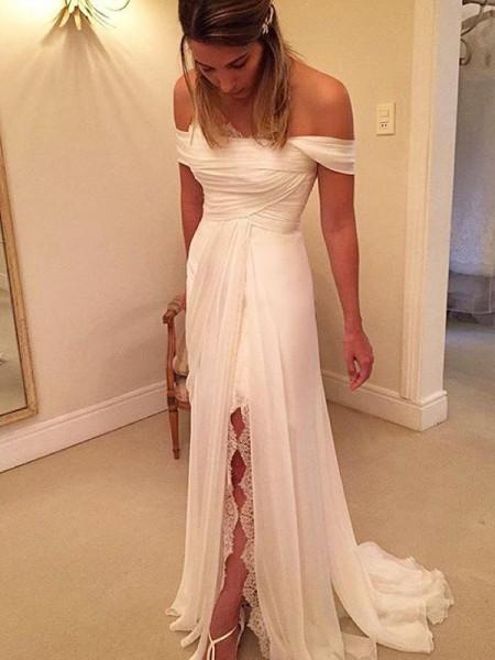 A-Line/Princess Sweep/Brush Train Off-the-Shoulder Ruffles Chiffon Wedding Dress
