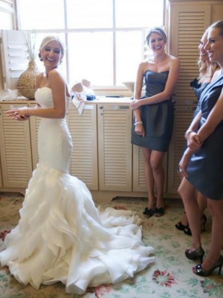 Trumpet/Mermaid Court Train Sweetheart Ruffles Satin Wedding Dress