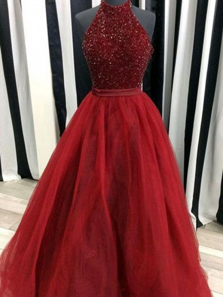 Ball Gown High Neck Floor-Length Organza Dress