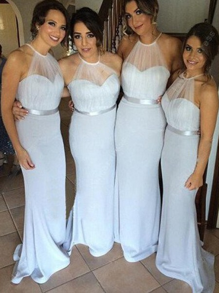 Sheath/Column Sash/Ribbon/Belt Floor-Length Halter Chiffon Bridesmaid Dress