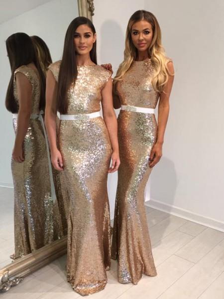 Sheath/Column Bateau Floor-Length Sequins Bridesmaid Dress
