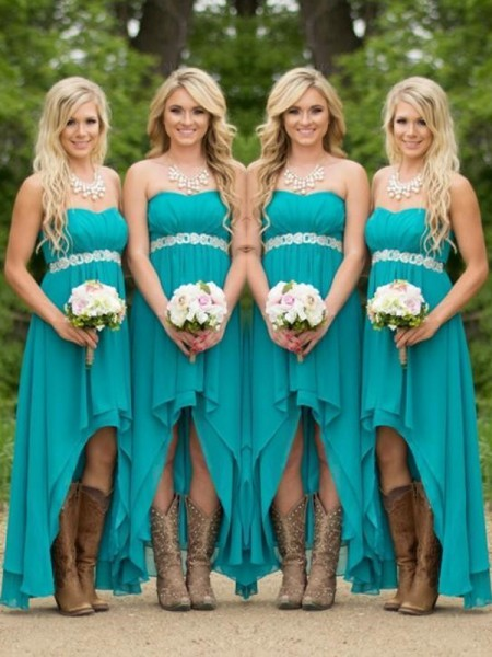 A-Line/Princess Sweetheart Asymmetrical Chiffon Bridesmaid Dress
