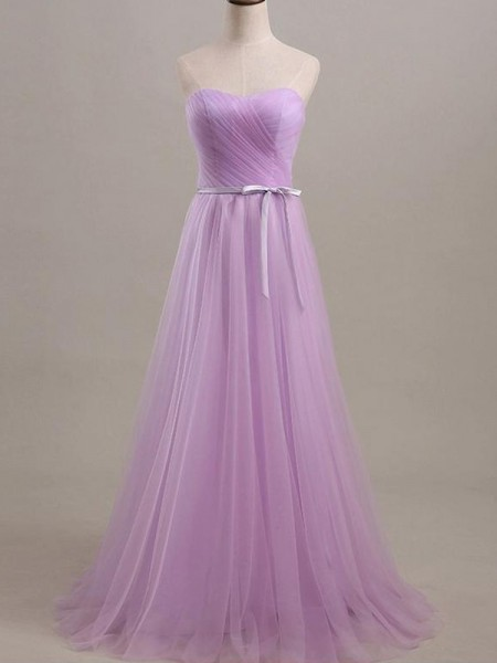 A-Line/Princess Sweetheart Floor-Length Sash/Ribbon/Belt Tulle Bridesmaid Dress