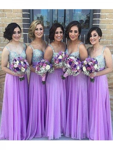 A-Line/Princess Sweetheart Floor-Length Sequin Chiffon Bridesmaid Dress