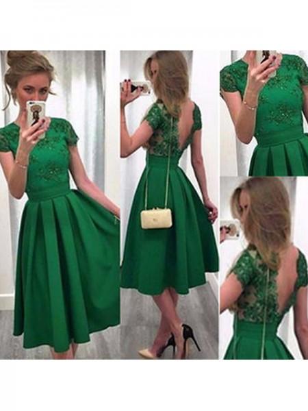 A-Line/Princess Scoop Lace Satin Short/Mini Dress