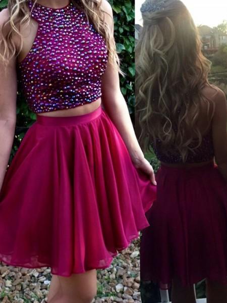 A-Line/Princess Scoop Chiffon Short/Mini Two Piece Dress