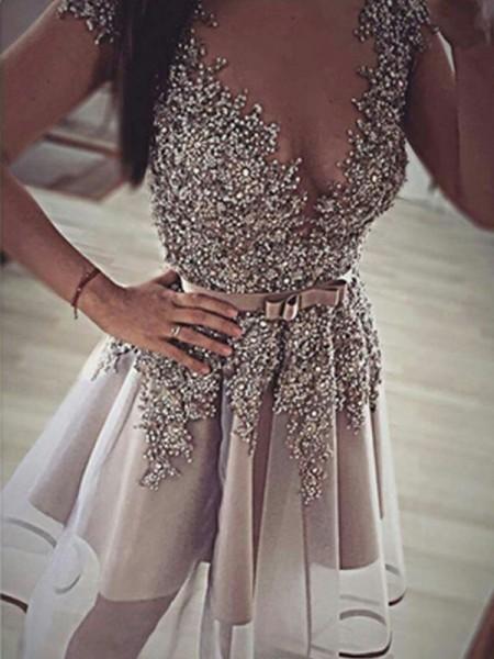 A-Line/Princess V-neck Sequin Organza Short/Mini Dress