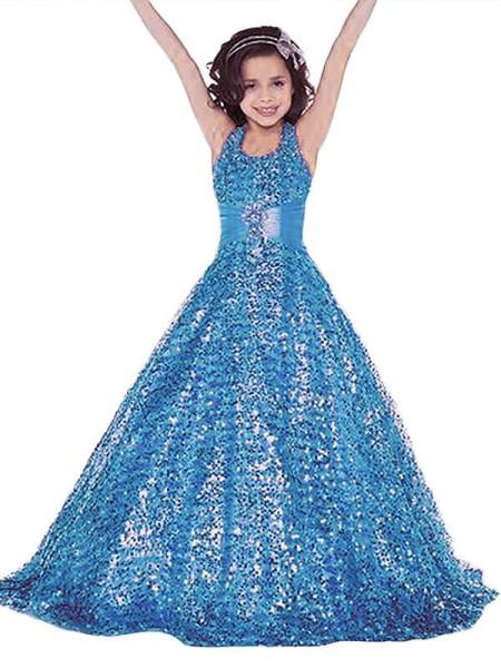 Ball Gown Halter Floor-Length Sequins Flower Girl Dress