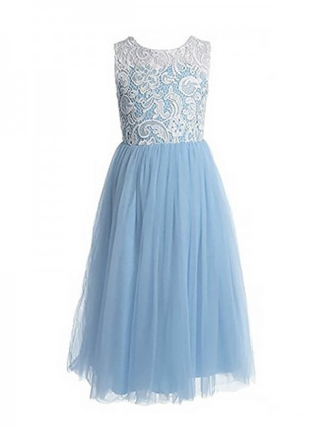 A-Line/Princess Jewel Ankle-Length Tulle Flower Girl Dress with Lace