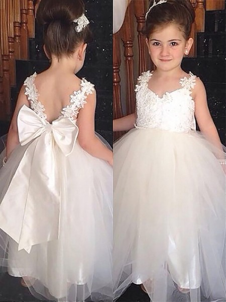 Ball Gown Sweetheart Bowknot Floor-Length Tulle Flower Girl Dress