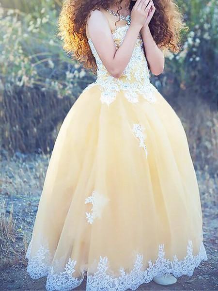 Ball Gown Jewel Applique Floor-Length Tulle Flower Girl Dress