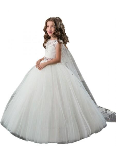 Ball Gown Jewel Beading Floor-Length Tulle Flower Girl Dress
