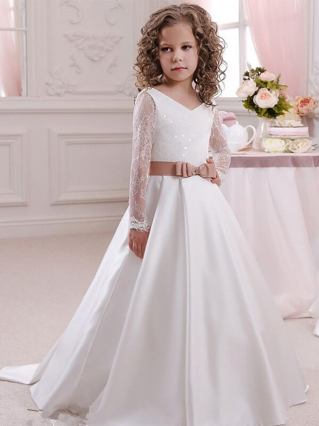 Ball Gown V-neck Floor-Length Satin Flower Girl Dress with Lace