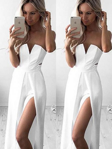 A-Line/Princess Sleeveless Strapless Floor-Length Stretch Crepe Ruched Dresses