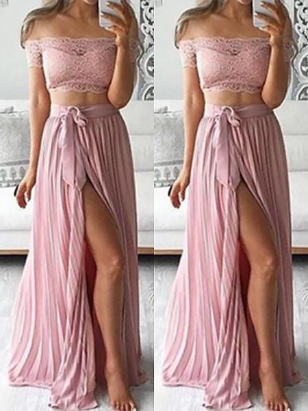 A-Line/Princess Off-the-Shoulder Chiffon Floor-Length Two Piece Dress with Lace