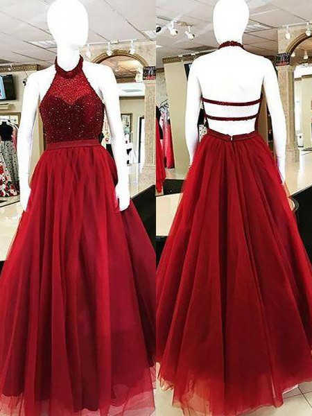 Ball Gown Halter Beading Floor-Length Tulle Dress