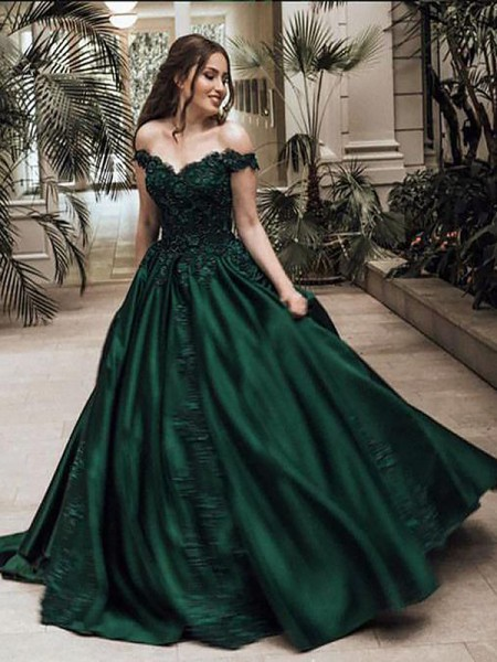 Ball Gown Off-the-Shoulder Floor-Length Satin Dress with Lace
