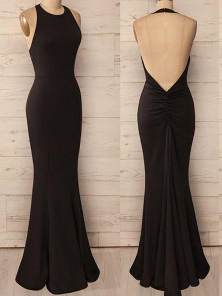 Trumpet/Mermaid Halter Floor-Length Spandex Dress