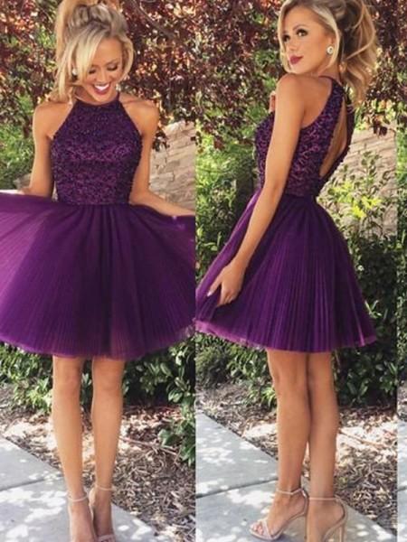 73d0db01555 A-Line Princess Halter Beading Sleeveless Short Mini Tulle Dresses