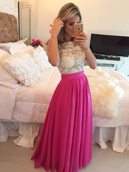 A-Line/Princess Scoop Lace Floor-Length Chiffon Dress