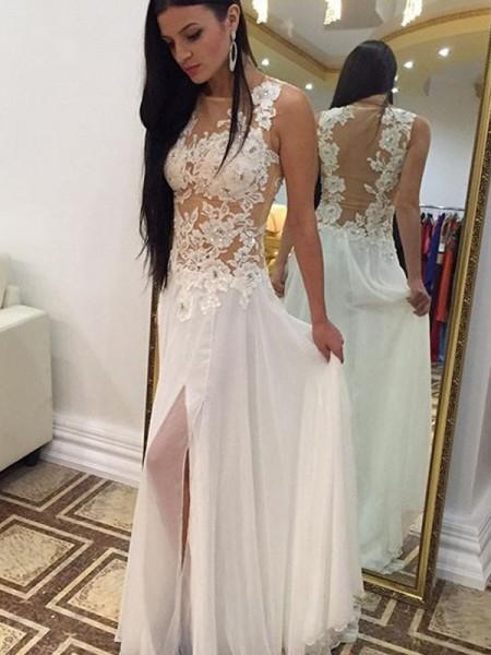 A-Line/Princess Scoop Floor-Length Applique Chiffon Dress