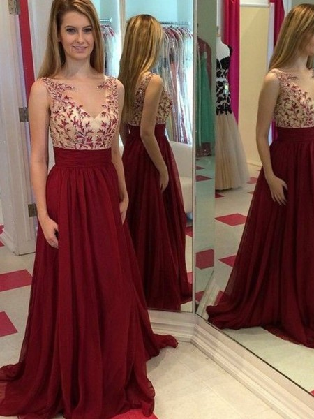 A-Line/Princess Bateau Applique Floor-Length Chiffon Dress