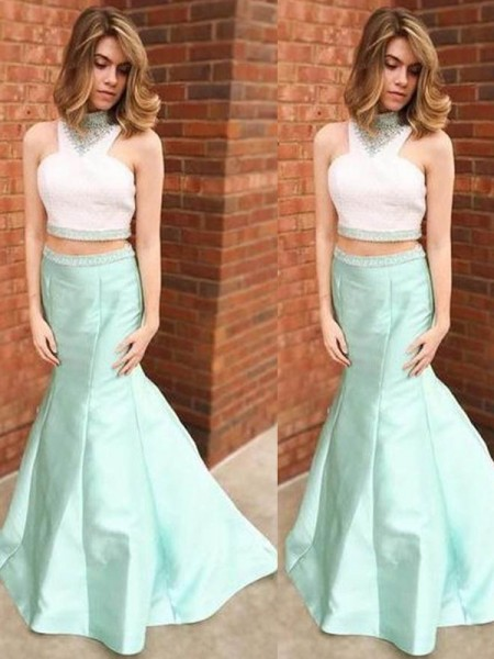 Trumpet/Mermaid High Neck Floor-Length Satin Dress