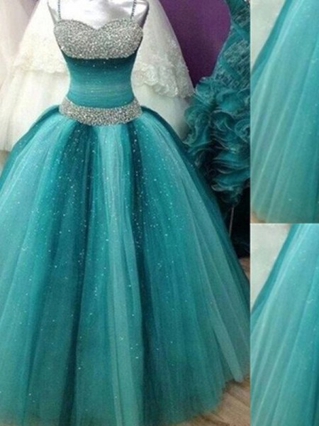 Ball Gown Spaghetti Straps Beading Sleeveless Tulle Floor-Length Dresses