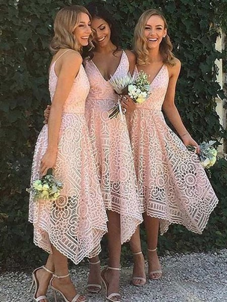 A-Line/Princess V-neck Asymmetrical Lace Bridesmaid Dress