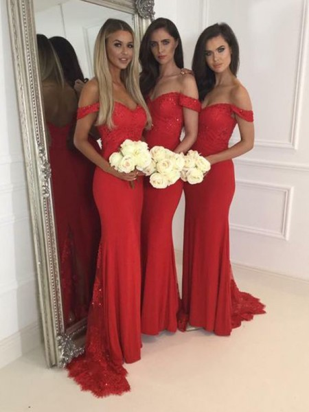 Trumpet/Mermaid Off-the-Shoulder Jersey Floor-Length Bridesmaid Dress