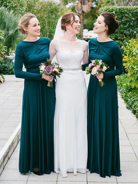 A-Line/Princess Scoop Floor-Length Long Sleeves Jersey Bridesmaid Dress