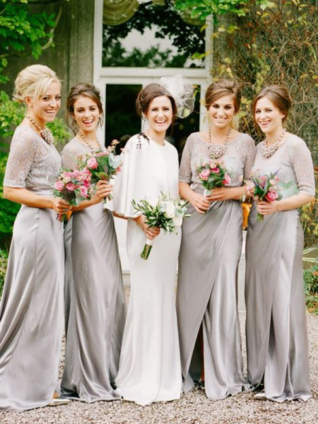 A-Line/Princess Scoop 1/2 Sleeves Floor-Length Satin Bridesmaid Dress