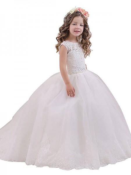 Ball Gown Scoop Floor-Length Tulle Flower Girl Dress