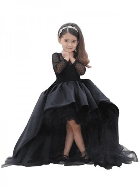 Ball Gown Scoop Long Sleeves Sweep/Brush Train Satin Flower Girl Dresses