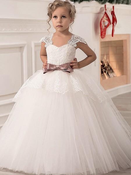 Ball Gown Straps Sash/Ribbon/Belt Tulle Floor-Length Flower Girl Dress