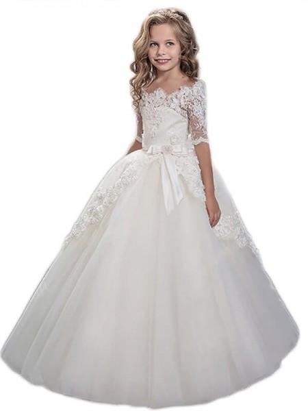 Ball Gown Off-the-Shoulder Applique Floor-Length Tulle Flower Girl Dress
