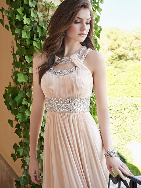 A-Line/Princess Bateau Chiffon Floor-Length Dress
